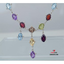 925 Sterling Silver Gemstone Necklace - Free UK Delivery