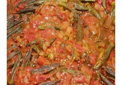 Okra In Tomato And Onion Sauce